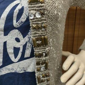 BKE Sweaters - Bke boutique boho taupe funky knit cartigan medium